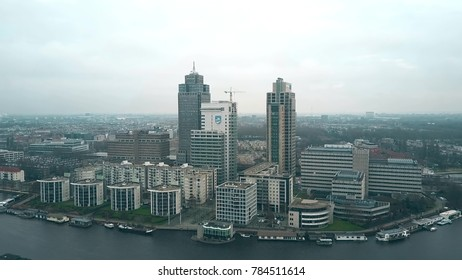AMSTERDAM, NETHERLANDS - DECEMBER 29, 2017. Aerial view of the tallest office skyscrapers within the Omval business district - the Rembrandt, Breitner and Mondriaan Towers