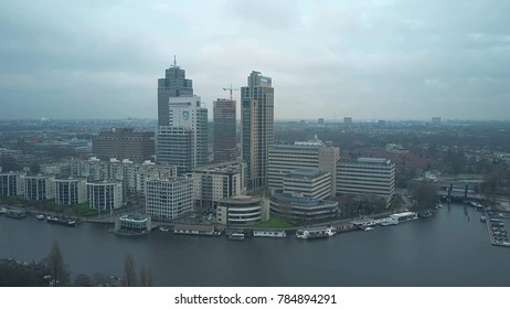 AMSTERDAM, NETHERLANDS - DECEMBER 29, 2017. Aerial shot of the the Omval business district