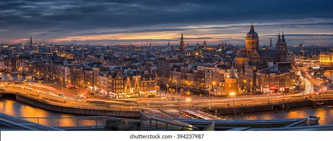 Amsterdam, Netherlands - December 30.  Panorama photo of the city of Amsterdam after sunset on December 30, 2015.