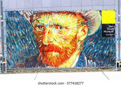AMSTERDAM, NETHERLANDS - December 30. Self portrait of Vincent van Gogh and sign to Van Gogh Museum on December 30, 2014 in Amsterdam. World famous art painting and Dutch tourist attraction.
