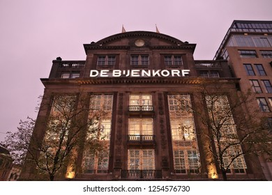 AMSTERDAM, NETHERLANDS - DECEMBER 6, 2017: De Bijenkorf flagship department store in Amsterdam, Netherlands. De Bijenkorf is a Dutch chain of high end department stores.