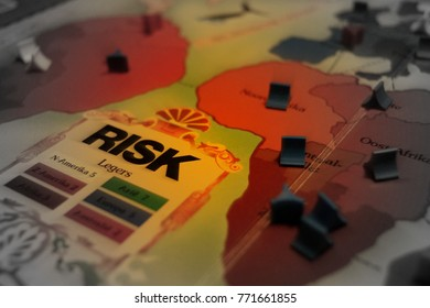 Amsterdam, The Netherlands-  December 9, 2017: Risk board game selective focus closeup (conflict map).