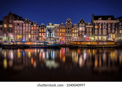 Amsterdam, the Netherlands, Dutch city at night