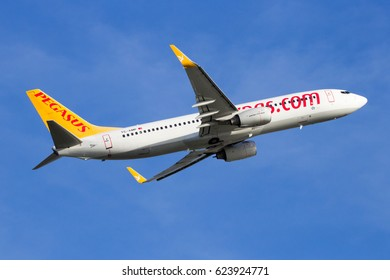AMSTERDAM, NETHERLANDS - FEB 16, 2016: Pegasus Airlines Boeing 737 airplane take-off from Amsterdam Schiphol airport.