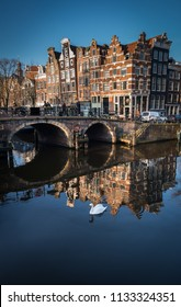 Amsterdam, Netherlands, Feb 2016: Crooked buildings, a feature of Amsterdam, on the Prinsengeracht