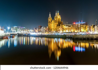 Amsterdam, The Netherlands - February 13, 2018: St. Nicholas Church (Nicolaaskerk in Dutch). Sint-Nicolaasbasiliek is a Roman Catholic church in Amsterdam. Neo-Renaissance and neo-baroque architecture