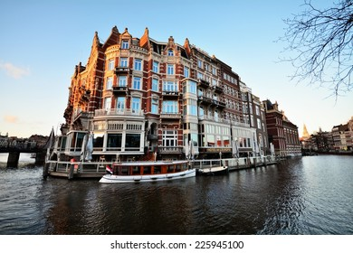 Amsterdam, The Netherlands - February 17, 2014. Hotel de l'Europe is a five-star hotel located on the Amstel river in the centre of Amsterdam, the Netherlands.