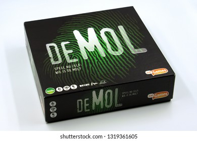 Amsterdam, the Netherlands - February 21, 2019: Populair Dutch board game Wie is de Mol? against a white background.
