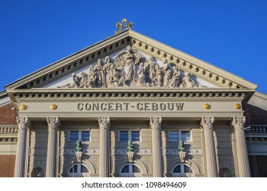 AMSTERDAM, NETHERLANDS - FEBRUARY 27, 2018: View of classicist Concertgebouw building. The famous Amsterdam Philharmonics is called Concertgebouw (Concert Building, XIX c).