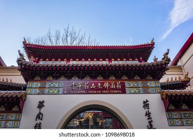 AMSTERDAM, NETHERLANDS - FEBRUARY 27, 2018: Amsterdam Chinatown area consists of a number of city blocks crammed with He Hua temple, Asian markets, restaurants and shops.