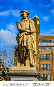 "AMSTERDAM, NETHERLANDS - FEBRUARY 27, 2018: View of famous Rembrandt van Rijn monument and sculptures of his picture ""The Night watch"" on Rembrandtplein (Rembrandt Square) in Amsterdam."