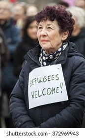 "Amsterdam, The Netherlands - February 6,2016: public multi-cultural demonstration organized to protest against racism and islamophobia named ""Refugees welcome, racism not!"""
