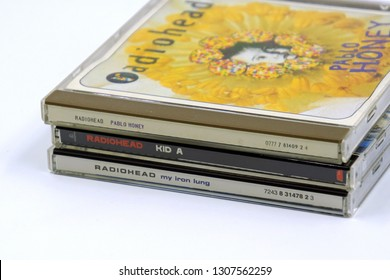 Amsterdam, The Netherlands - February 8, 2019: Compact Disc (CD) Albums from English rock band Radiohead.