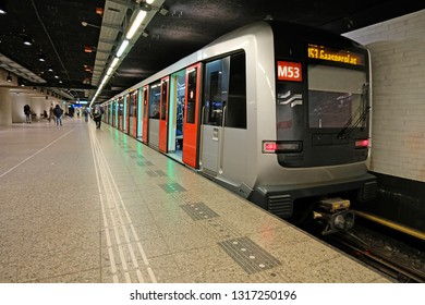 Amsterdam, Netherlands - February 8, 2019: Metro waiting at Central station in Amsterdam the Netherlands