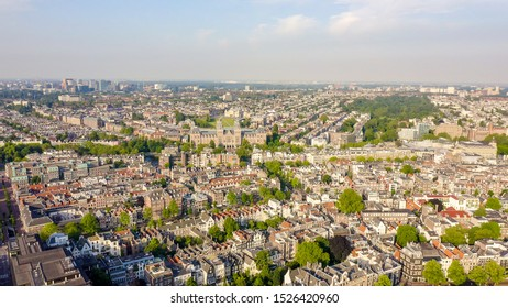 Amsterdam, Netherlands.  Flying over the rooftops of the city, Aerial View