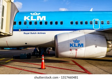 AMSTERDAM, NETHERLANDS - JAN 28, 2018: KLM airplane parked at Schiphol airport. KLM is the flag carrier and national airline of Italy