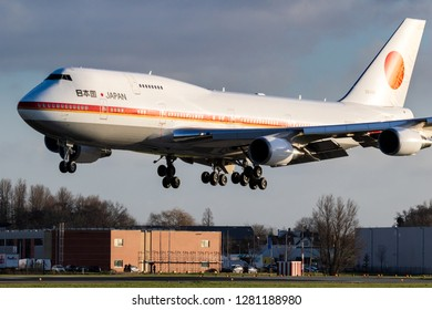 AMSTERDAM, THE NETHERLANDS - JAN 9, 2019: Japanese Air Force One Boeing 747 aircraft bringing the Prime Minister of Japan Shinzo Abe for a short visit to The Netherlands.