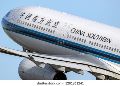 AMSTERDAM, THE NETHERLANDS - JAN 9, 2019: China Southern Airlines Airbus A330 passenger plane taking off from Amsterdam-Schiphol International Airport.