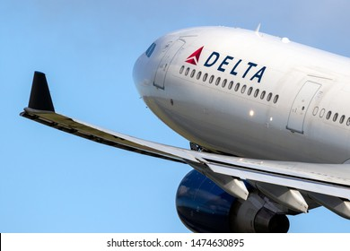 AMSTERDAM, THE NETHERLANDS - JAN 9, 2019: Delta Air Lines Airbus A330 passenger plane taking off from Amsterdam-Schiphol International Airport.
