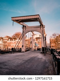 Amsterdam Netherlands Januari 2019, Skinny Bridge (Dutch: Magere Brug) over the Amstel river in Amstel