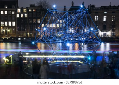 Amsterdam / The Netherlands â?? January 02, 2016: The first weekend in January 2016, are the last days of Amsterdam Light Festival. Art made of lights are displayed throughout the city.