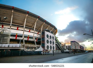 AMSTERDAM, NETHERLANDS - JANUARY 03, 2017: Amsterdam Arena stadium, the largest stadium in Netherlands. Home stadium for AFC Ajax and the Netherlands national team. Amsterdam - Netherlands.
