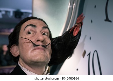 AMSTERDAM, NETHERLANDS - January 06, 2018: Salvador Dali, Spanish surrealist painter, Madame Tussauds wax museum in Amsterdam. One of the popular touristic attractions