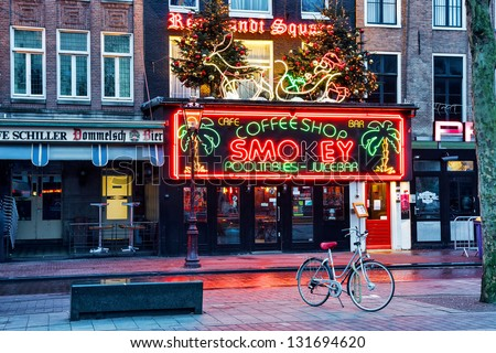 AMSTERDAM, NETHERLANDS - JANUARY 06: Coffeeshop Smokey is a cannabis coffee shop located on the biggest square in Amsterdam, Rembrandt Square. January 06, 2013 Amsterdam, Netherlands