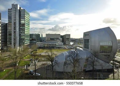 Amsterdam, Netherlands - January 2, 2017: South view of the Living Tomorrow Pavilion, an ABN-Amro branch on the corner of the Holterberweg and the De Entree.