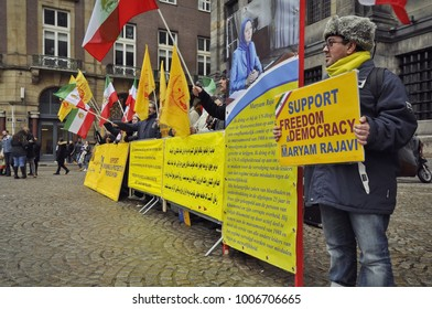 Amsterdam, Netherlands - January 20, 2018: Supporters of the uprising in Iran protesting in front of the royal palace on the Dam Square