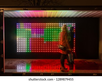 Amsterdam, Netherlands - January 20 2019: the 7th edition of the Amsterdam Light festival is over. Since November 29 2018 there were light artworks spread around the city center of the Dutch capital.