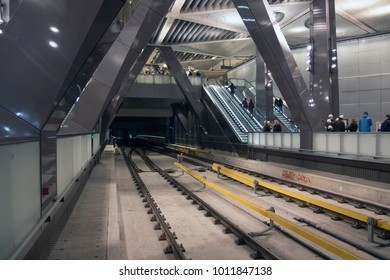 AMSTERDAM, THE NETHERLANDS -JANUARY 20,2018: View of the new metro station of the north south line under the central station of Amsterdam on november 20 , 2018 in Amsterdam, Holland