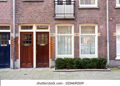 AMSTERDAM, THE NETHERLANDS - JANUARY 25th, 2018. Typically Amsterdam /  Dutch house fronts in popular and wanted neighborhoods close to the city center.