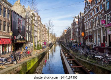 Amsterdam, Netherlands; January 30th 2018:  View of one of the famous canals of Amsterdam next to the red light district.