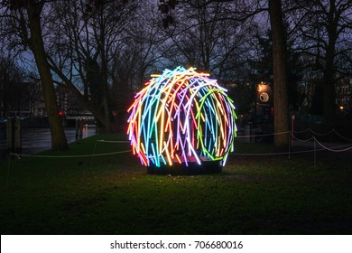 Amsterdam, Netherlands - January 5, 2017: Light Festival Amsterdam, a multicolor art object in a park
