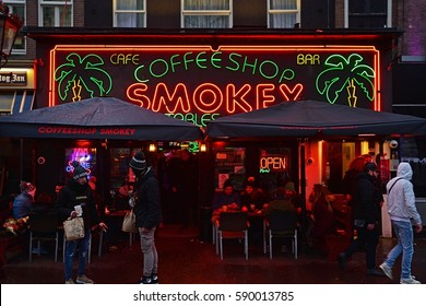 AMSTERDAM, THE NETHERLANDS - JANUARY 7 - One of many famous Amsterdam coffeshops, where cannabis (marijuana) is sold for private use, on January 7, 2017 in Amsterdam, Holland