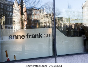 Amsterdam, Netherlands -january7, 2018: facade of the Anne Frank house in Amsterdam