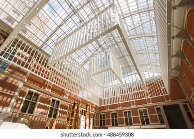 Amsterdam, Netherlands - July 03 2016: Modern roof of the Rijksmuseum inside