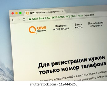 Amsterdam, the Netherlands - July 1, 2018: Website of Qiwi, a Russian payment service provider.