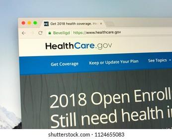 Amsterdam, the Netherlands - July 1, 2018: Website of HealthCare.gov or HealthCare, a U.S. health insurance exchange website.