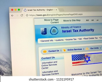Amsterdam, the Netherlands - July 10, 2018: Website of The Israel Tax Authority, the taxation authority in Israel.