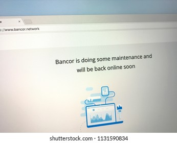 Amsterdam, the Netherlands - July 10, 2018: Website of Bancor announcing maintenance.
