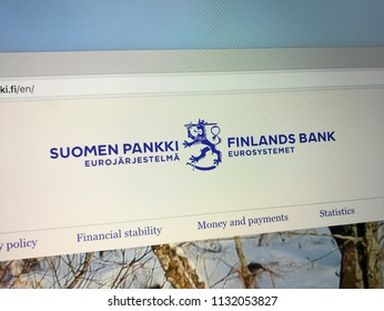 Amsterdam, the Netherlands - July 11, 2018: Website of The Bank of Finland, the central bank of Finland.