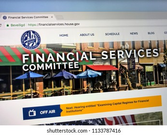 Amsterdam, the Netherlands - July 14, 2018: Website of The United States House Committee on Financial Services or the House Banking Committee, oversees the entire u.s.financial services industry.