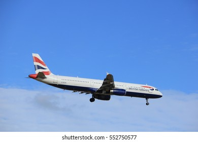 Amsterdam, the Netherlands - July 15th 2016:G-EUXK British Airways Airbus A321, approaching Polderbaan runway at Schiphol Amsterdam Airport, arriving from London, United Kingdom