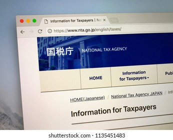 Amsterdam, the Netherlands - July 16, 2018: Website of The National Tax Agency the official tax collecting agency of Japan.