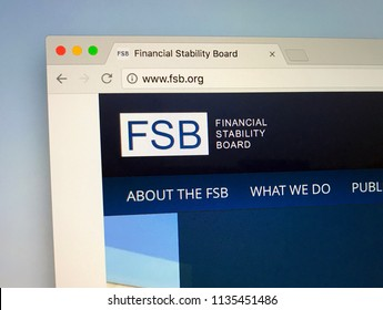 Amsterdam, the Netherlands - July 16, 2018: Website of The Financial Stability Board or FSB, a international body that monitors and makes recommendations about the global financial system.