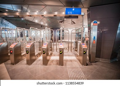 AMSTERDAM, NETHERLANDS - JULY 19, 2018: Entrance to the new metro line Amsterdam Noord Zuid line at Amsterdam central station