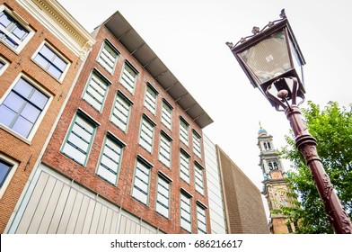 AMSTERDAM, NETHERLANDS. July 20, 2017. Anne Frank house (huis) Holocaust museum in central Amsterdam, the city icon that attracts numerous tourists.