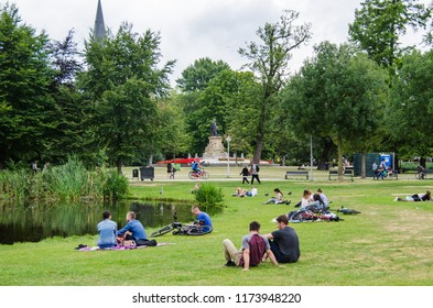 AMSTERDAM, NETHERLANDS; JULY 2018 People in Vondelpark a relax place in Amsterdam, Netherlands.